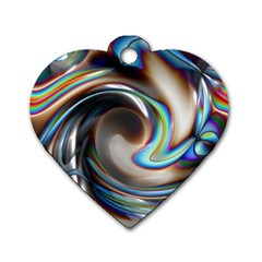 Twirl Liquid Crystal Dog Tag Heart (one Side)