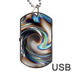 Twirl Liquid Crystal Dog Tag Usb Flash (one Side)