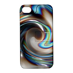 Twirl Liquid Crystal Apple iPhone 4/4S Hardshell Case with Stand