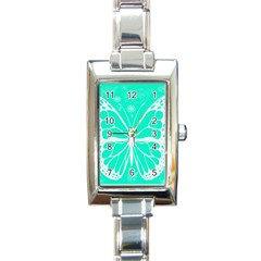 Butterfly Cut Out Flowers Rectangle Italian Charm Watch