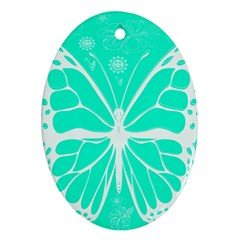 Butterfly Cut Out Flowers Ornament (oval)