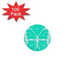 Butterfly Cut Out Flowers 1  Mini Buttons (100 pack)