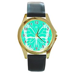 Butterfly Cut Out Flowers Round Gold Metal Watch