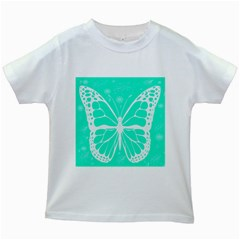 Butterfly Cut Out Flowers Kids White T-Shirts