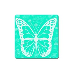 Butterfly Cut Out Flowers Square Magnet