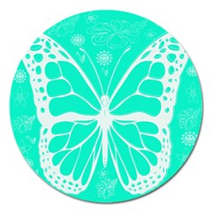Butterfly Cut Out Flowers Magnet 5  (Round)