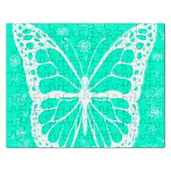 Butterfly Cut Out Flowers Rectangular Jigsaw Puzzl