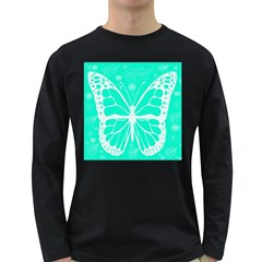 Butterfly Cut Out Flowers Long Sleeve Dark T Shirts