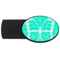Butterfly Cut Out Flowers Usb Flash Drive Oval (4 Gb)