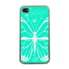 Butterfly Cut Out Flowers Apple Iphone 4 Case (clear)