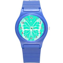 Butterfly Cut Out Flowers Round Plastic Sport Watch (S)