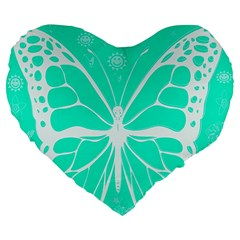Butterfly Cut Out Flowers Large 19  Premium Heart Shape Cushions