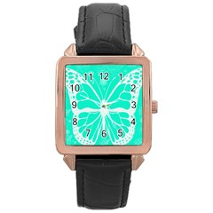 Butterfly Cut Out Flowers Rose Gold Leather Watch