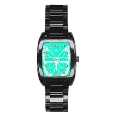 Butterfly Cut Out Flowers Stainless Steel Barrel Watch