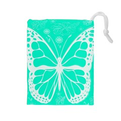 Butterfly Cut Out Flowers Drawstring Pouches (Large)