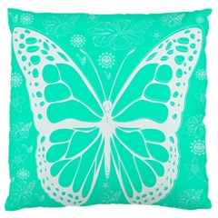 Butterfly Cut Out Flowers Large Flano Cushion Case (One Side)