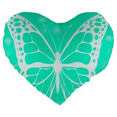 Butterfly Cut Out Flowers Large 19  Premium Flano Heart Shape Cushions