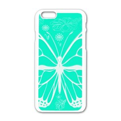 Butterfly Cut Out Flowers Apple iPhone 6/6S White Enamel Case