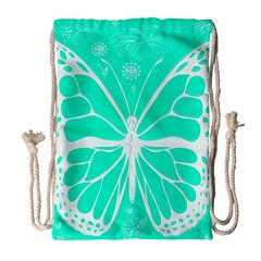 Butterfly Cut Out Flowers Drawstring Bag (large)