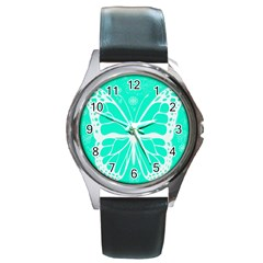 Butterfly Cut Out Flowers Round Metal Watch