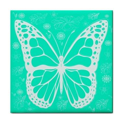 Butterfly Cut Out Flowers Tile Coasters