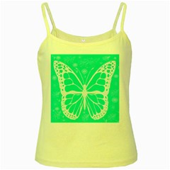 Butterfly Cut Out Flowers Yellow Spaghetti Tank