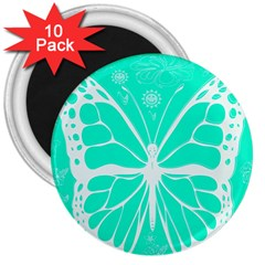 Butterfly Cut Out Flowers 3  Magnets (10 Pack)