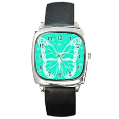 Butterfly Cut Out Flowers Square Metal Watch
