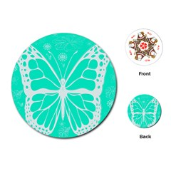 Butterfly Cut Out Flowers Playing Cards (round)
