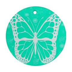 Butterfly Cut Out Flowers Round Ornament (two Sides)