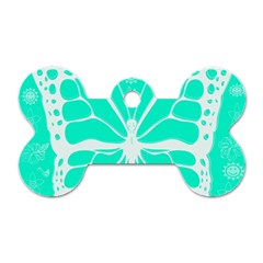 Butterfly Cut Out Flowers Dog Tag Bone (two Sides)