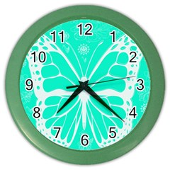 Butterfly Cut Out Flowers Color Wall Clocks