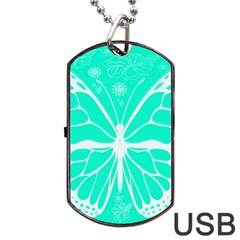 Butterfly Cut Out Flowers Dog Tag Usb Flash (one Side)