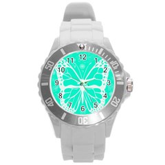 Butterfly Cut Out Flowers Round Plastic Sport Watch (L)
