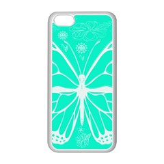 Butterfly Cut Out Flowers Apple iPhone 5C Seamless Case (White)