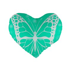 Butterfly Cut Out Flowers Standard 16  Premium Flano Heart Shape Cushions