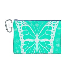 Butterfly Cut Out Flowers Canvas Cosmetic Bag (m)