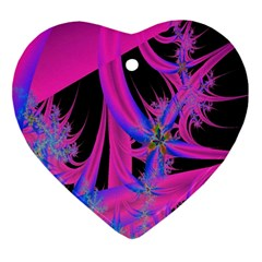 Fractal In Bright Pink And Blue Ornament (heart)