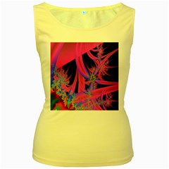 Fractal In Bright Pink And Blue Women s Yellow Tank Top