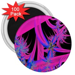 Fractal In Bright Pink And Blue 3  Magnets (100 Pack)
