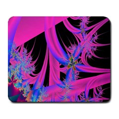 Fractal In Bright Pink And Blue Large Mousepads