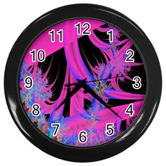 Fractal In Bright Pink And Blue Wall Clocks (Black)