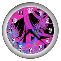 Fractal In Bright Pink And Blue Wall Clocks (silver)