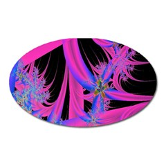 Fractal In Bright Pink And Blue Oval Magnet