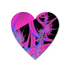 Fractal In Bright Pink And Blue Heart Magnet