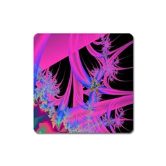 Fractal In Bright Pink And Blue Square Magnet