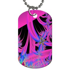 Fractal In Bright Pink And Blue Dog Tag (One Side)