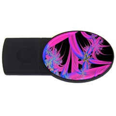 Fractal In Bright Pink And Blue USB Flash Drive Oval (1 GB)