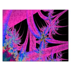 Fractal In Bright Pink And Blue Rectangular Jigsaw Puzzl