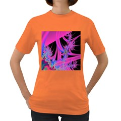 Fractal In Bright Pink And Blue Women s Dark T-Shirt